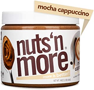 Nuts 'N More Mocha Cappuccino Peanut Butter Spread, All Natural High Protein Nut Butter Healthy Snack, Omega 3's, Antioxidants, Low Carb, Low Sugar, Gluten-Free, Non-GMO, no preservatives,16 oz Jar
