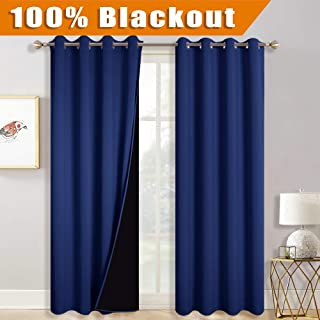 RYB HOME Living Room Curtains - 100% Blackout 2 Layers Curtains for Sliding Door Living Room, Thermal Insulate Curtains Extra Long for High Ceiling Loft Divider Wall Panel, 52 x 108, Navy Blue, 2 Pcs