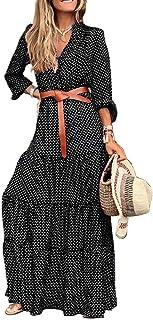 Xmiral Vestito Donna V-Collo Sexy Vintage A Manica Lunga con Stampa A Pois