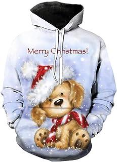Eastbride Sudadera con Capucha de Navidad Unisex, Jersey de árbol de Navidad de Alce de Dibujos Animados, Sudadera Impresa...