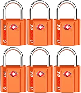Orange 6 Pack TSA Approved Luggage Locks Ultra-Secure Dimple Key Travel Locks with Zinc Alloy Body