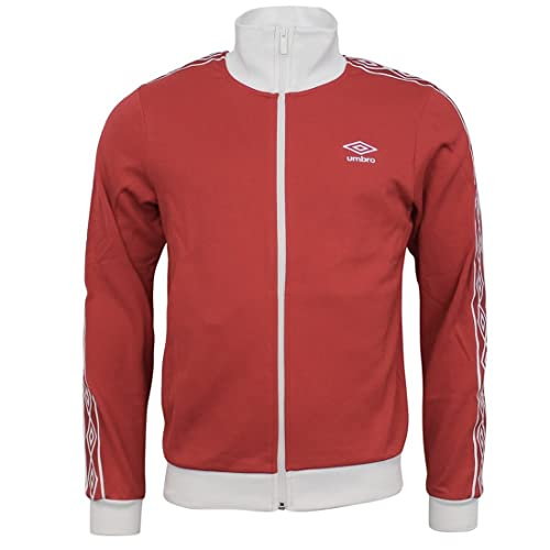 01b8dd3367 Mens Umbro Retro Taped Full Zip Track Top Jackets In Red / White
