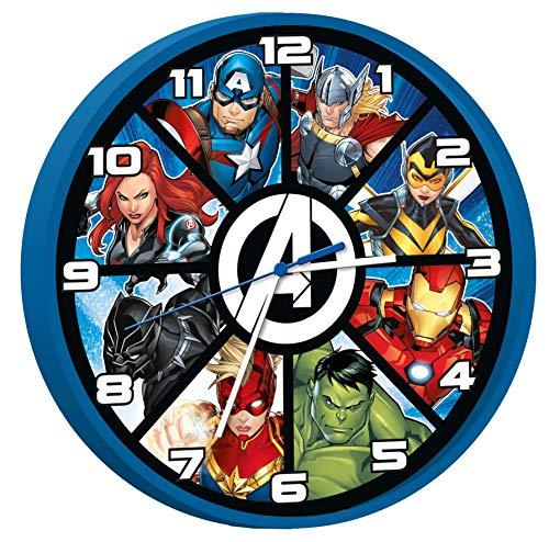 Kids Licensing | Die Avengers Wanduhr | Rächer | Kinderuhr | Analog | Einfach zu lesen | Stunden Lernen | 25 cm Durchmesser | Einfache Installation | Funktioniert mit AA-Batterien