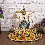 Pot à vin de luxe, beau pot sûr en alliage de zinc de style européen pour ornements ménagers pour mariage pour chambre à coucher(blue)
