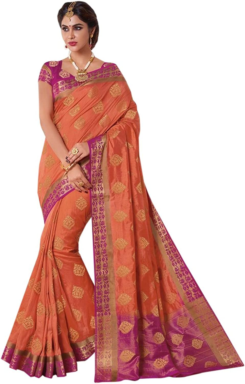 Designer Bollywood orange Silk Saree Sari for Women Latest Indian Ethnic Collection Casual Wear Festive Ceremony 2689 20