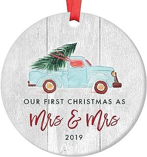 Lesbian Couple First Christmas 2019 Ornament 1st Holiday Mrs & Mrs Gay Newlywed Wedding Gift Idea Cute Retro Blue Truck Ceramic Vintage Farmhouse Keepsake 3