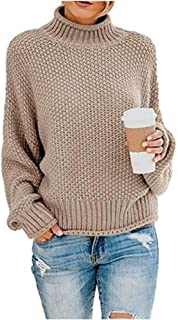 Caistre Women's Loose Turtleneck Sweaters Batwing Long Sleeve Pullover Casual Oversized Chunky Knitted Jumper Tops