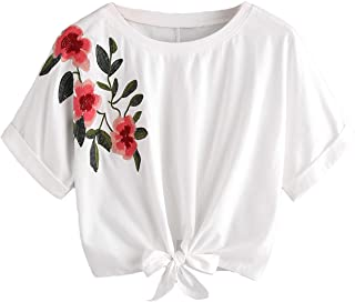 Women's Summer Short Sleeve Crop Top T-Shirt Tie Front Blouse Top