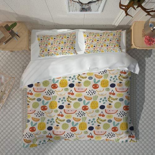 Non-Iron Duvet Cover Set 3 Pcs Double Plain Brushed Microfiber Bedding Duvet Cover With Pillowcases Machine Washable (King Duvet Cover,Cute Cartoon Fruit), 230X220cm