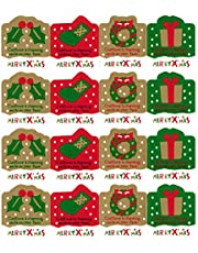 LSW Set of 120 Merry Christmas Holly, Stocking, Wreath, Present Holiday Stickers