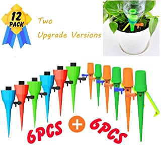 Plant Self Watering Spikes Devices, 6pcs+6pcs Two Latest Version Automatic Plant Waterer Drip Irrigation System WorksasWatering StakesBulbs Globes for Potted Flowers Plants Vegetables GardenLawn