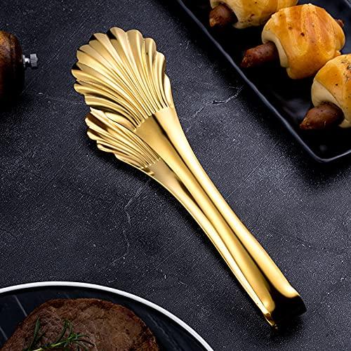 YHSW Pinzas para Alimentos de Acero Inoxidable,bistec de Barbacoa/Pan/Barbacoa Conveniente para cocinar,Barbacoa,Ensalada,Buffet,Utensilios de Horno,Color,Negro,Dorado (22,5 cm * 6 cm)