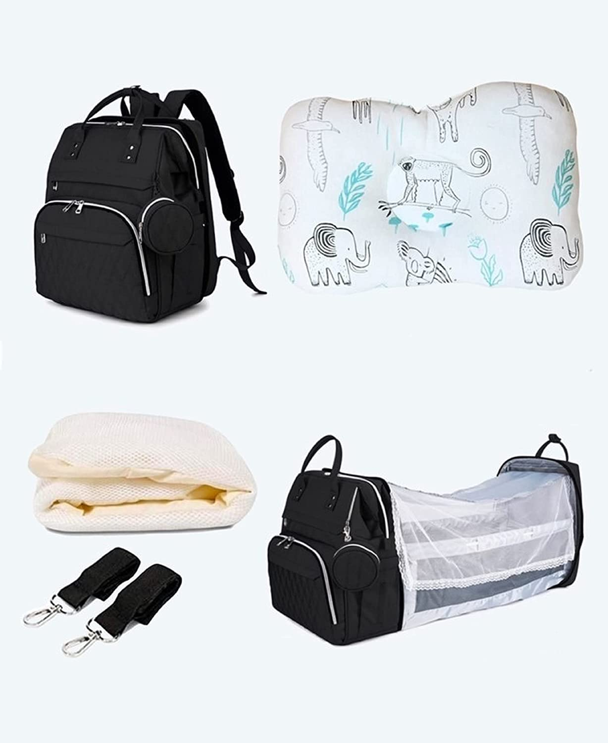 HMP Travel Baby Backpack Diaper Bag, Changing Station, Large Diaper Bags, Foldable, Waterproof, Stroller Straps, Sunshade, Mosquito Net, USB Port.