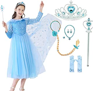 Moonmen Long-Sleeve Princess Dress for Girls with Accessories, Snow Queen Girl Costumes Dress Party Cosplay Girl Clothing Set