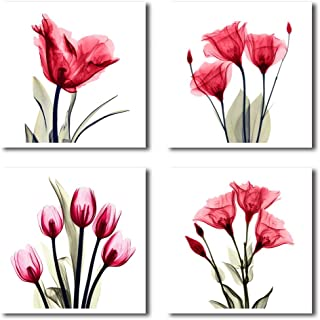 HLJ ART 4 Panel Elegant Tulip Purple Flower Canvas Print Wall Art Painting for Living Room Decor and Modern Home Decorations Photo Prints 12x12inch (RED-A)