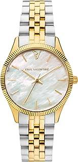 Paul Valentine Damenuhr - Iconia Gold Silver - Armbanduhr mit Perlmutt-Ziffernblatt, kratzfestes Glas, Quarz-Uhrwerk, Edel...