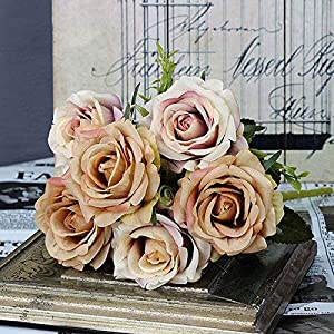 Artificial and Dried Flower 6 Heads Silk Rose Artificial Flowers 2 Assorted Color Rose Flore for Wedding Decoration Winter Fake Flower for Home Decor – ( Color: Brown )