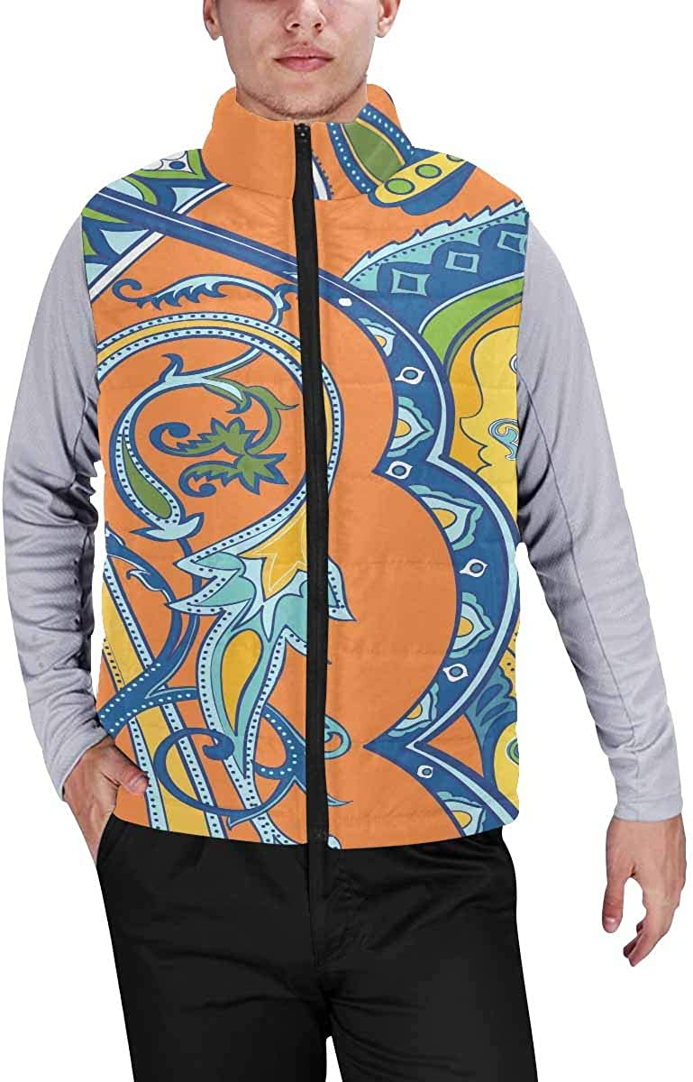 InterestPrint Men's Outdoor Casual Stand Collar Sleeveless Jacket Beautiful Bstract Colored Roses