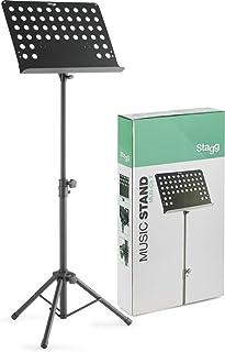 In hoogte verstelbare orkeststandaard met geperforeerde plaat-muzieksteun (hoogte van 70 tot 110 cm instelbaar).