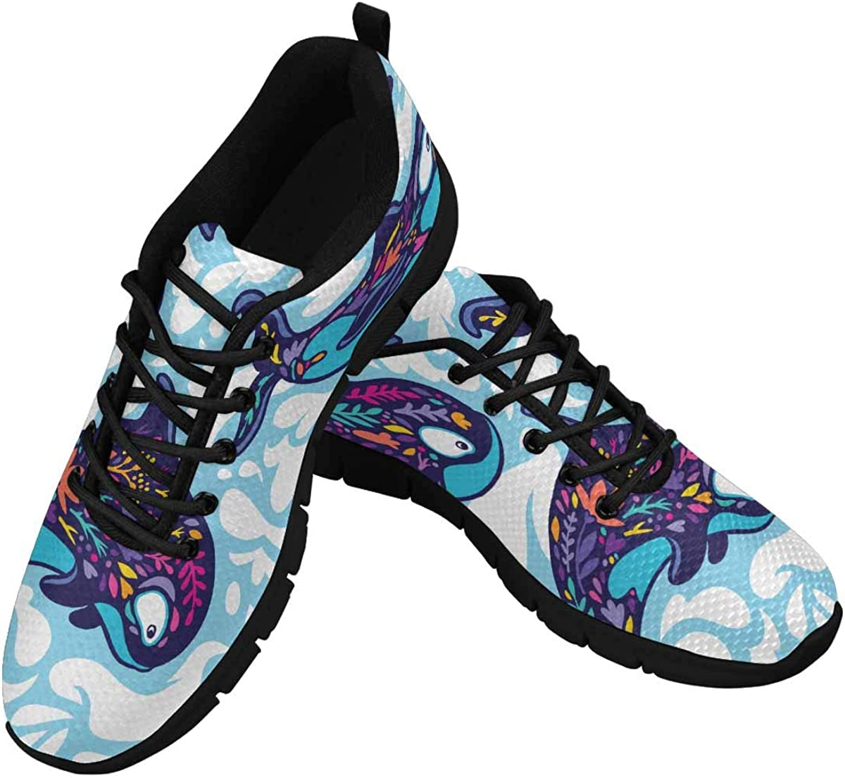INTERESTPRINT Marine Pattern with Floral Orca Whales Women's Athletic Mesh Breathable Casual Sneakers