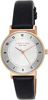 Kenneth Cole Women's SILVER Dial Genuine Leather Band Watch - KC50077003