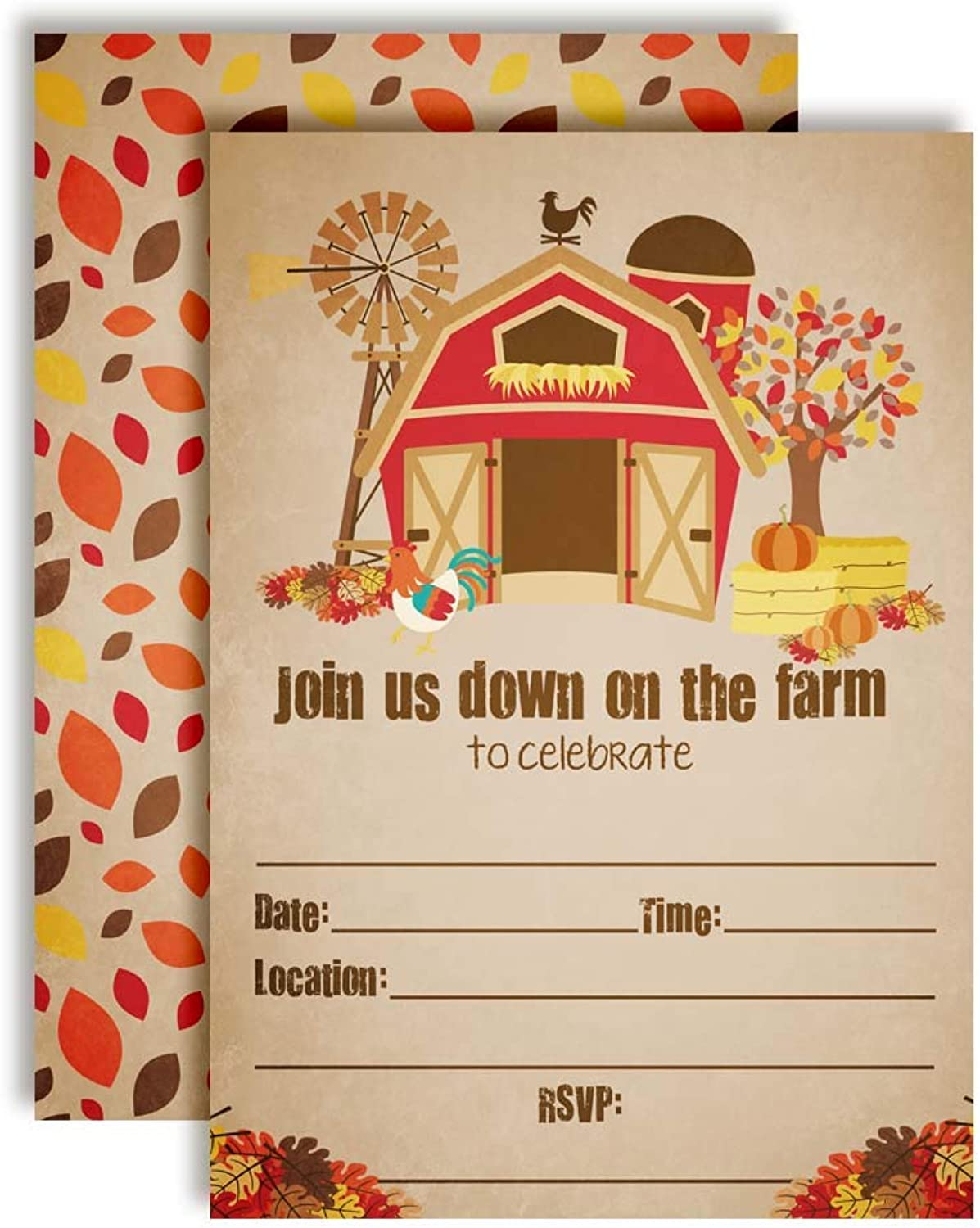Rustic Old Fashioned Barn Fall & Autumn Barnyard Farm Birthday Party Invitations, 20 5 x7  Fill in Cards with Twenty White Envelopes by AmandaCreation