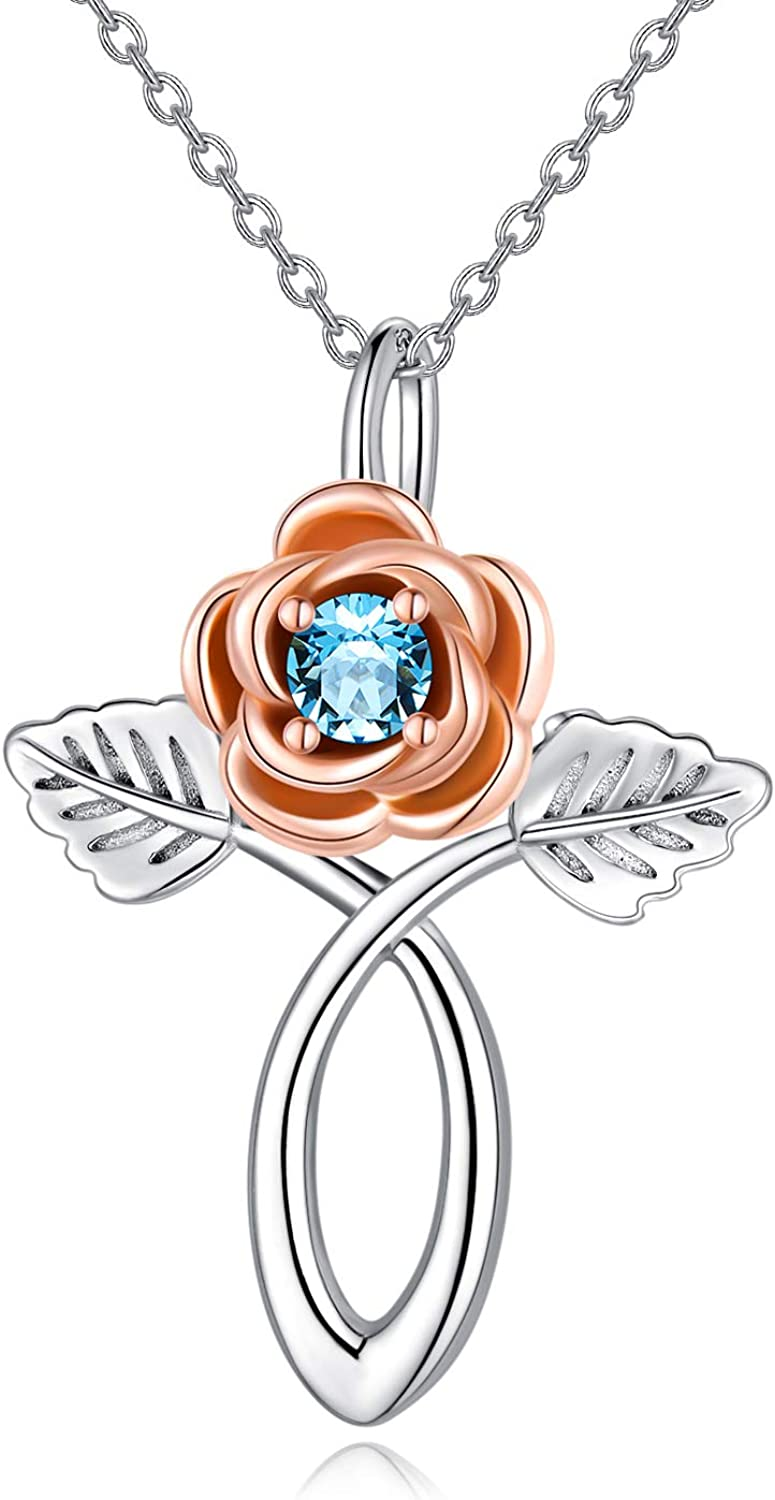 AOBOCO Rose Flower Sunflower Cross Sterling Necklace Silver Low price Max 89% OFF 925