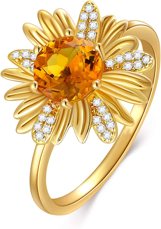 14K 35% OFF Yellow Gold Sunflower Moissanite Ring Ga Orange with 1 Super intense SALE Carat