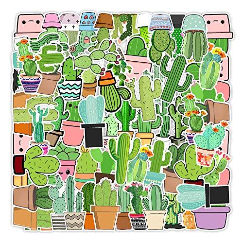 STKCST Anime Cartoon Cactus Graffiti Paquete de Pegatinas de Bricolaje Cuaderno Etiqueta Adhesiva Creativa Calcomanía Decoración Etiqueta de Equipaje Coche Impermeable Colorido Lindo Vinilo estético