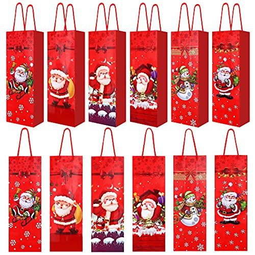 Bolsas de regalo de vino de Navidad,18 piezas de fundas para botellas de vino,caja de vino de papel rojo para envolver,decoración mesa calidad con asas cuerda fuertes para fiestas,regalos