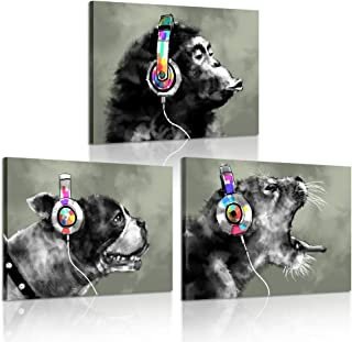 iKNOW FOTO 3 Piece Modern Gorilla Monkey Music Canvas Art Wall Painting Abstract Animal Happy Dog and Leopard Decor Artwork Picture Home Decoration 12x16inchx3pcs
