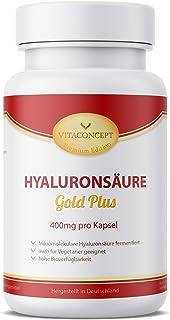 ÁCIDO HIALURÓNICO Gold Plus - 400 mg por cápsula - 100 cápsulas fermentadas y micromoleculares (500-700 kDa) aptas para vegetarianos * MADE IN GERMANY*