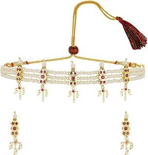 Efulgenz Indian Jewelry Cubic Zirconia CZ Crystal Faux Pearl Choker Necklace Earrings Set for Women Girls