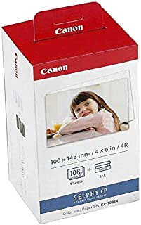 Canon KP-108 Color Ink Paper Set, Postcard Size 100 x 148 mm, 108 Sheets Selphy CP, 3115B00[(AA], White