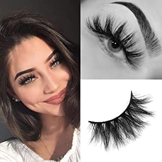 SWINGINGHAIR Mink Lashes, 3D Mink Eyelashes 19mm Natural False Eyelashes Siberian 3D Mink Lashes Natural Look Eyelashes Hand-made Fluffy Volume Lashes 1 Pair