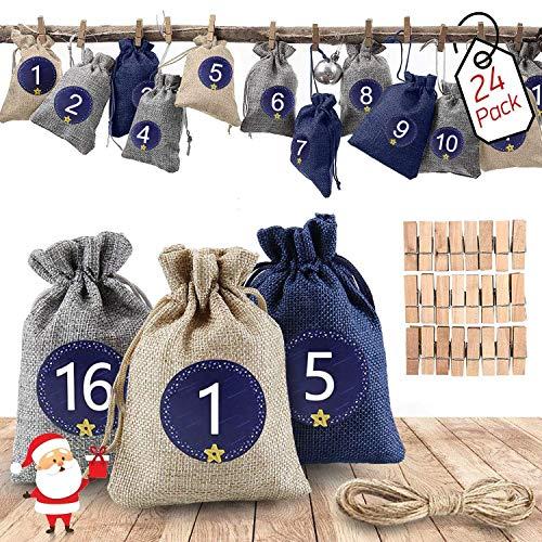 Mupack 24 Adventskalender,Weihnachtskalender,Stoffbeutel zum Befüllen - Weihnachten Geschenksäckchen Stoffbeutel für DIY Handwerk, mit 1-24 Adventszahlen Aufkleber