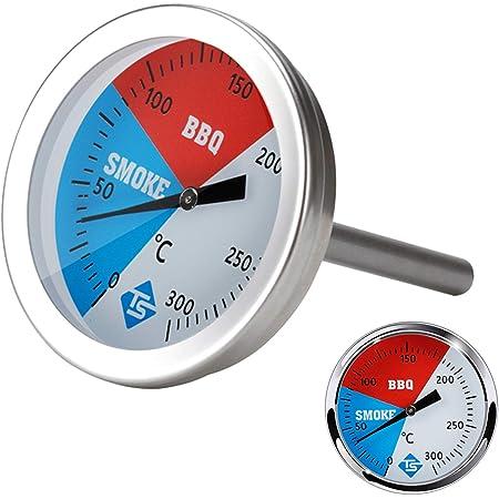 Walory Medidor de Temperatura de 0 a 300 Grados Celsius, termómetro de Cocina de Acero Inoxidable para Barbacoa, Parrilla, Horno ahumador