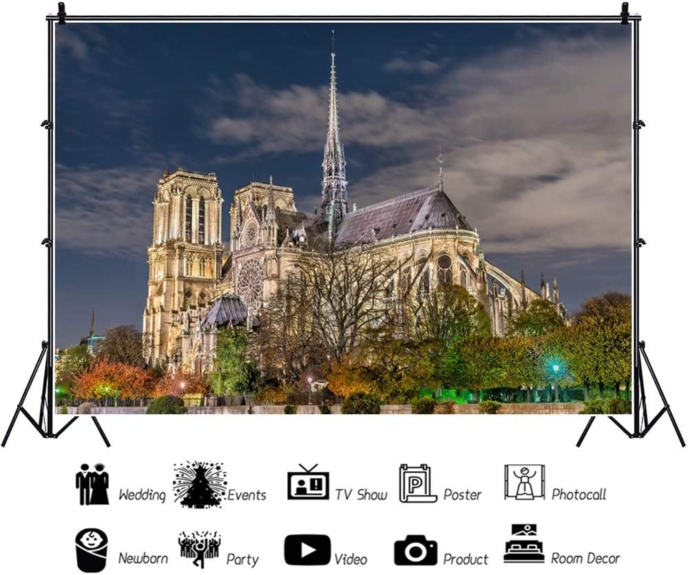 OERJU 15x10ft Notre Dame Cathedral Night View Backdrop France Landmark Bridal Shower Photography Background Wedding Ceremony Party Decor Kids Adults Artistic Photo Prop YouTube Video Shoot Wallpaper