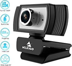 $79 » 2020 NexiGo 1080P HD Webcam with Built-in Noise Reduction Microphone, Widescreen USB Web Camera, for PC/Mac Laptop/Desktop Streaming Video Calling Recording Conferencing Home Office