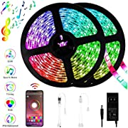 LED Strip Lights Bluetooth Control, 32.8ft/10M 300LEDs Color Changing Rope Lights 5050 RGB Light Strips with Alexa Google APP Controller, Waterproof Tape Lights Sync with Music Apply for Home Kitchen