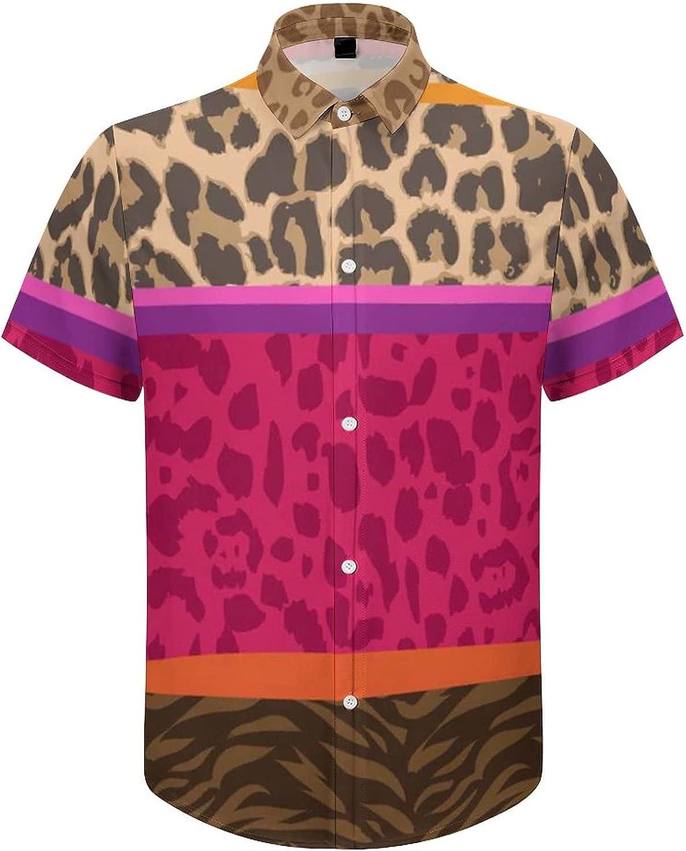 Men's Short Sleeve Button Down Shirt African Tribal Animal Skin Summer Shirts