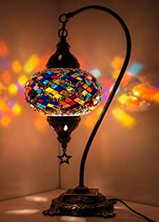 New BOSPHORUS Stunning Handmade Swan Neck Turkish Moroccan Mosaic Glass Table Desk Bedside Lamp Light with Bronze Base (Multicolor)