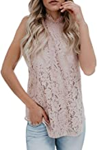 Valphsio Womens Lace Crochet Tank Tops Sleeveless Halter Scallop Clubwear Blouse Tops