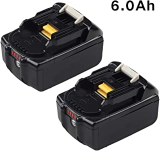 2 Packs 6.0Ah BL1860B Lithium-ion Replace for Makita 18V Battery with LED Indicator BL1860 BL1850 BL1840 BL1830 LXT-400 194204-5 Series Cordless Power Tools