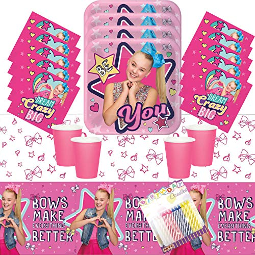 JoJo Siwa Party Plates Napkins Cups and Table Cover Serves 16 with Birthday Candles - JoJo Siwa Party Supplies Pack Deluxe (Bundle for 16)
