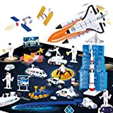 REMOKING Space Adventure Toy Playset, Educational Aerospace Toy Series with Space Playmat, Learning Die-Cast Space Shuttle, Artificial Satellite,Explorer,Great Gifts for Kids 3 Years and up