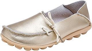 Mujer Mocasines de Cuero Moda Loafers Casual Zapatos de Conducción Cómodos Zapatillas del Barco Planos Sandalias para Caminar