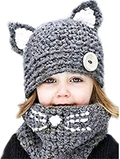 Winter Warm Scarf Cap Set Cute Animal Ear Hat Knitted with Hood Scarves