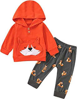 YOUNGER TREE Kids Toddler Baby Boys Girls Fall Outfit Fox Hoodie Sweatshirt Jackets Shirt+Pants 3Pc Winter Clothes Set