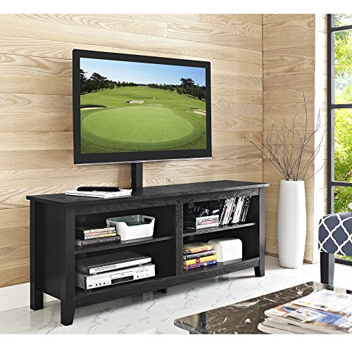 Walker Edison Wren Classic 4 Cubby TV Stand for TVs up to 65 Inches with Mount, 58 Inch, Black